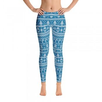 Ugly Sweater Leggings for Women (Blue)