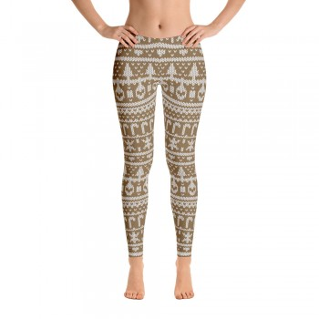 Ugly Sweater Leggings for Women (Brown)