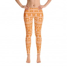 Ugly Sweater Christmas Pattern Printed Sweater Leggings for Women (Orange)