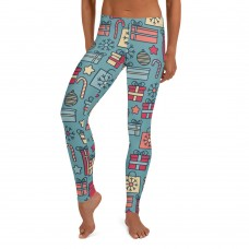 Women's Christmas Candy & Presents Pattern Printed Sweater Leggings (Blue)