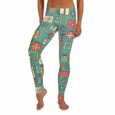 Women's Christmas Candy & Presents Pattern Printed Sweater Leggings (Green)