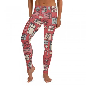 Women's Christmas Candy & Presents Pattern Printed Sweater Leggings (Red)