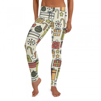 Women's Christmas Candy & Presents Pattern Printed Sweater Leggings (Tan)