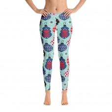 Women's Christmas Pattern Leggings (Aqua)