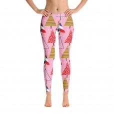 Women's Christmas Pattern Leggings (Pink)