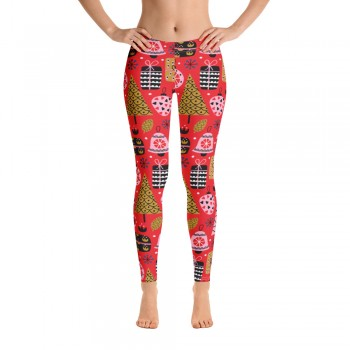 Women's Christmas Pattern Printed Sweater Leggings (Red)