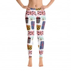 Women's Christmas Pattern Printed Sweater Leggings (Off-White)