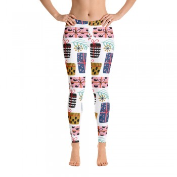 Women's Christmas Pattern Leggings (Off-White)