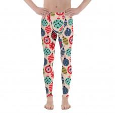 Men's Christmas Pattern Printed Sweater Leggings (Tan)