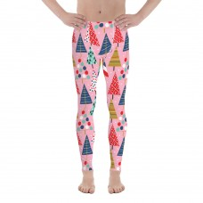 Men's Christmas Pattern Leggings (Pink)