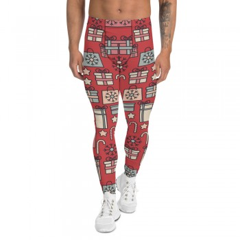 Men's Christmas Candy and Presents Pattern Printed Sweater Leggings (Red)