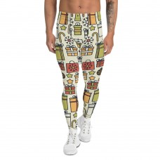 Men's Christmas Candy and Presents Pattern Printed Sweater Leggings (Tan)