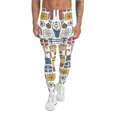 Men's Christmas Candy and Presents Pattern Printed Sweater Leggings (White)