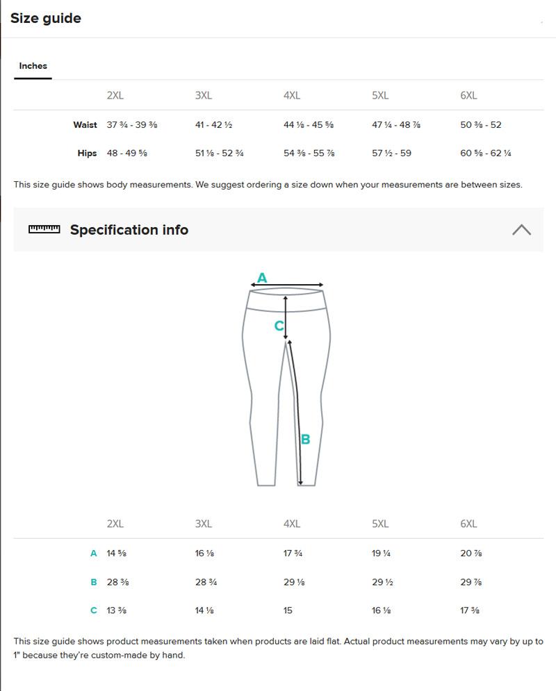 plus size leggings size chart
